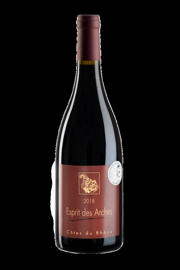 Vin rouge côtes du rhône du domaine des arches, près de Vinsobres et Nyons
